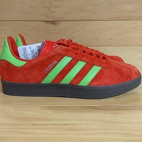 Rare Adidas Gazelle Red Green Mens Shoe